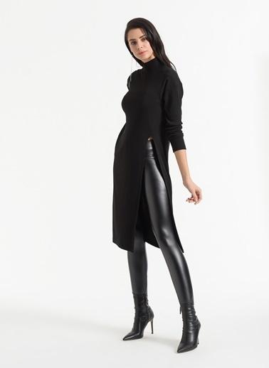Styletag Yırtmaç Detaylı Tunik Elbise Siyah